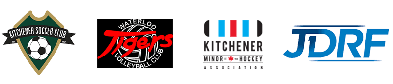 logos of Kitchener Soccer Club, Waterloo Tigers Volleyball, Kitchener Minor Hockey, and the Juvenile Diabetes Research Foundation.