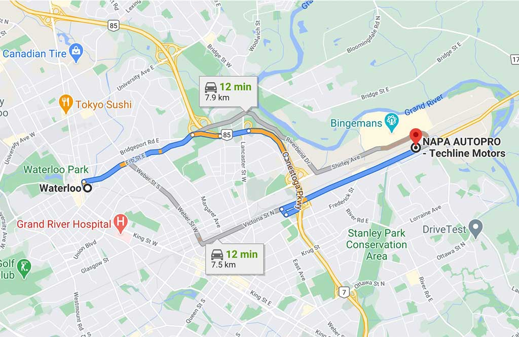 map direction from waterloo to Techline Motors