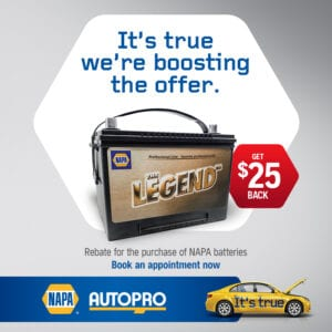 $25 rebate with you book a battery service with Legend batteries
